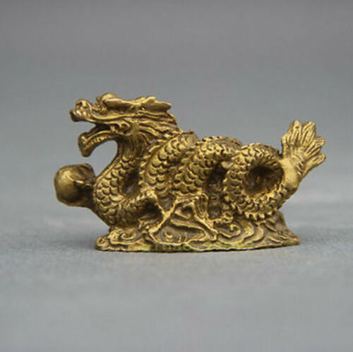 Chinese old Bronze Copper Stand Year Zodiac Dragon Exquisite Statue //Sculpture