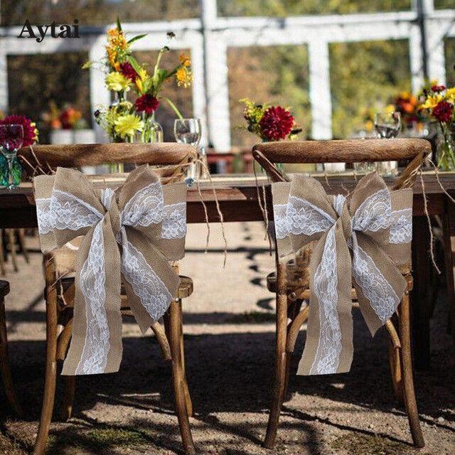 50 × de Hesse Sash Chair Cover Bow Jute Toile De Jute Dentelle Vintage Rustique Mariage Fête