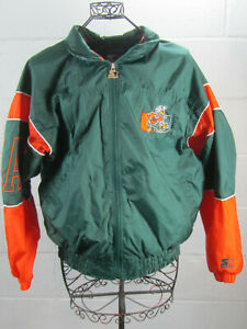 Vintage-Starter-Miami-Hurricanes-Green-Embroidered-Light-Jacket-L