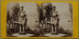Museo-Angers-Estatua-Soldado-Foto-Estereo-Vintage-Albumina-c1870