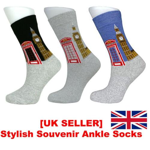 Men/'s Calf Socks  London Big Ben Telephone Box Picture Design Cotton Rich