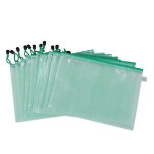 12-Stueck-A4-Papier-Gridding-Reissverschluss-Taschen-Ordner-Papiertuete-Gru-Z4F1