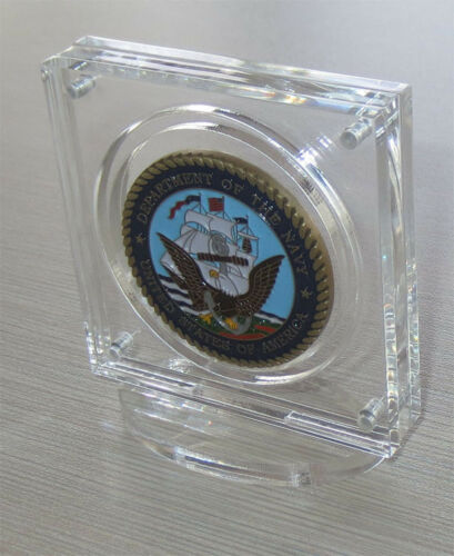 """1.75/"""" Challenge Coin Display Holder Case with Stand w// Magnetic Fastener"""