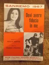 """SPARTITO SANREMO 1967 """"DEVI AVERE FIDUCIA IN ME"""" + """"CHI NON CONOSCERA' L'AMORE"""""""