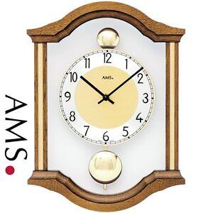 AMS-7447-4-quarzo-dell-039-OROLOGIO-DI-PARETE-PENDOLO-doppio-legno-massello-Rovere