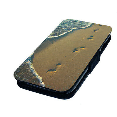 Footprints in the Sand Printed Faux Leather Flip Phone Cover Case