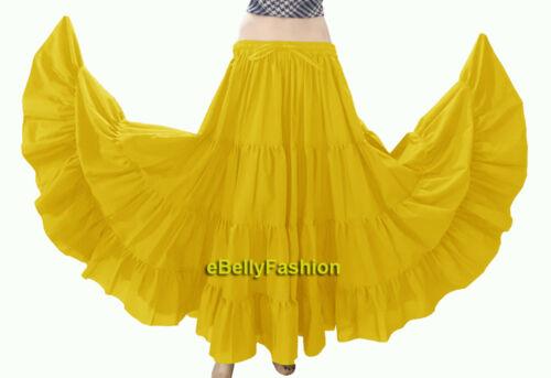 Skirt Maxi 12 Yard 4 Tiered Cotton Belly Dance Gypsy Flamenco Tribal Jupe Boho