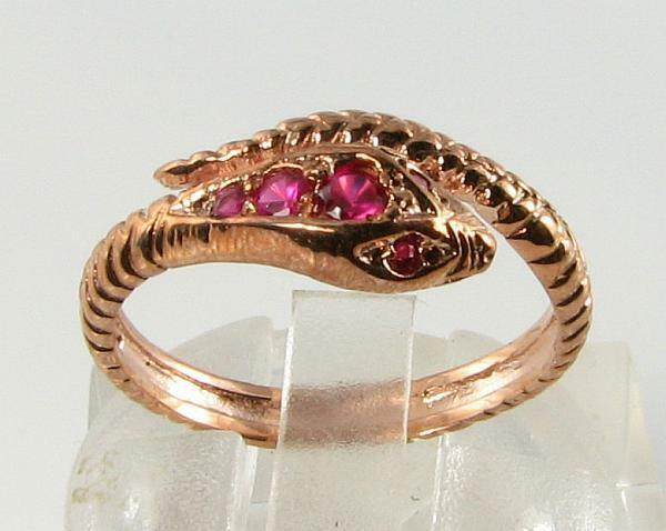 CLASS 9CT 9K pink gold INDIAN RUBY COILED SNAKE RING FREE RESIZE