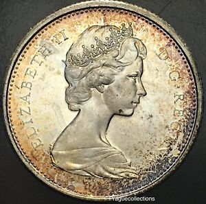 1867-1967-Elizabeth-II-25-Cents-visible-Monster-Toned-coin