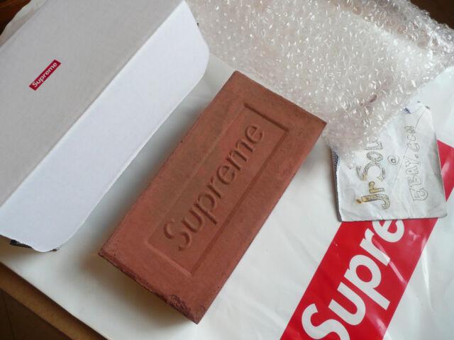 Supreme® red clay Brick FW16 + BOX LOGO STICKER fall/winter 2016 debossed logo