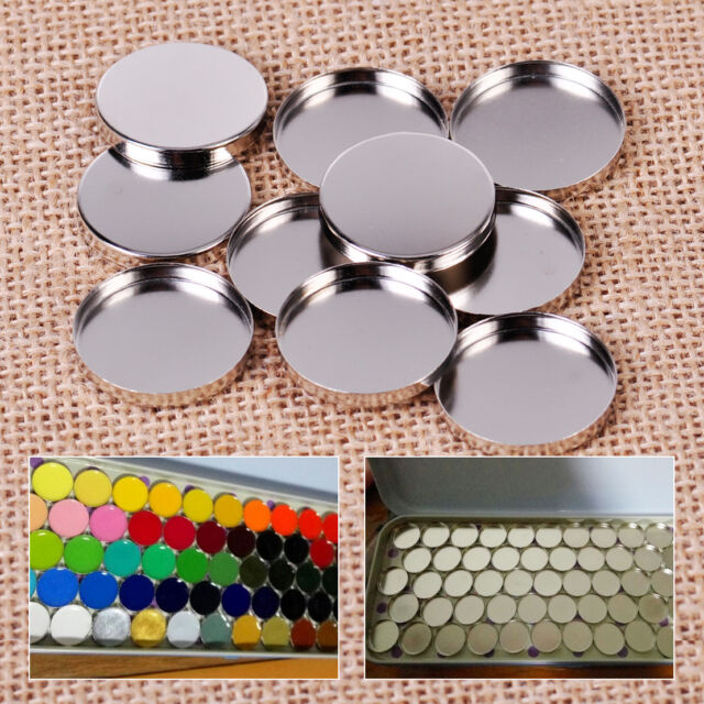 10PCS 26mm Empty Magnetic Cosmetics Makeup Eyeshadow Aluminum Palette Pans New