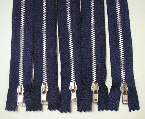 """5-7/"""" Black or Grey or Denim or Navy Blue # 4.5 Closed End Metal Teeth Zippers"""