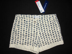 tout neuf 56a8f 9ed0f Details about Monoprix shorts ivory printed lightweight denim girl 12 years  new label- show original title