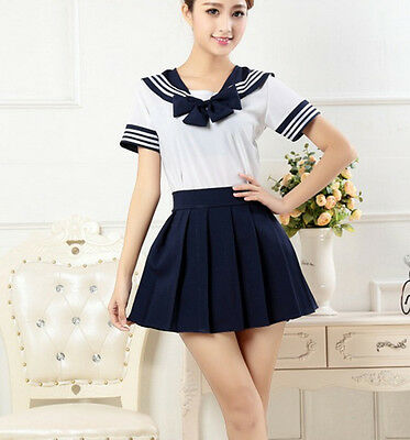Japanese School Girl Dress Outfit Sailor Uniform Cosplay Costume Fancy Dress New