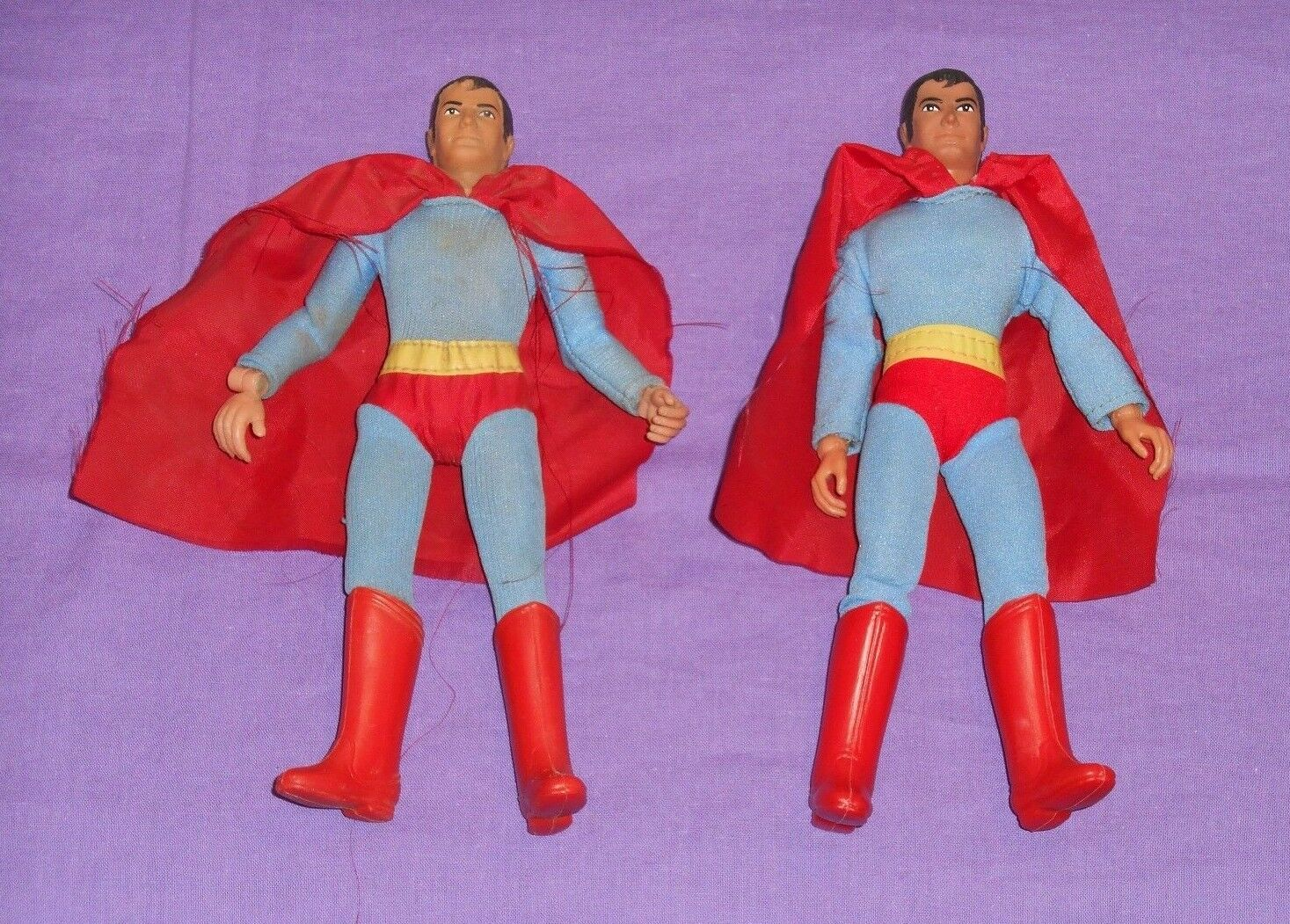 Vintage Mego WORLD'S GREATEST SUPER-HEROES WGSH 8  SUPERMAN LOT x2 type 1 type 2