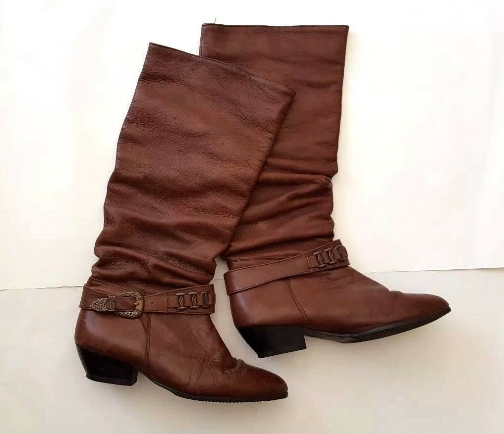 Penelope Leather Boots with Warm Lining - Made in Spain - Size 8 - Cowboy Style