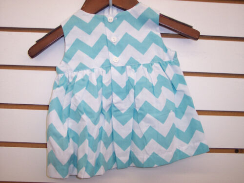 Infant Girls Mom /& Me Smocked Aqua Dress W//Bloomers Size 6 Months 24 Months