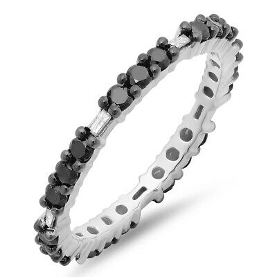 Details about  /0.84 CT Sterling Silver Round /& Baguette Black And White Diamond Eternity Band