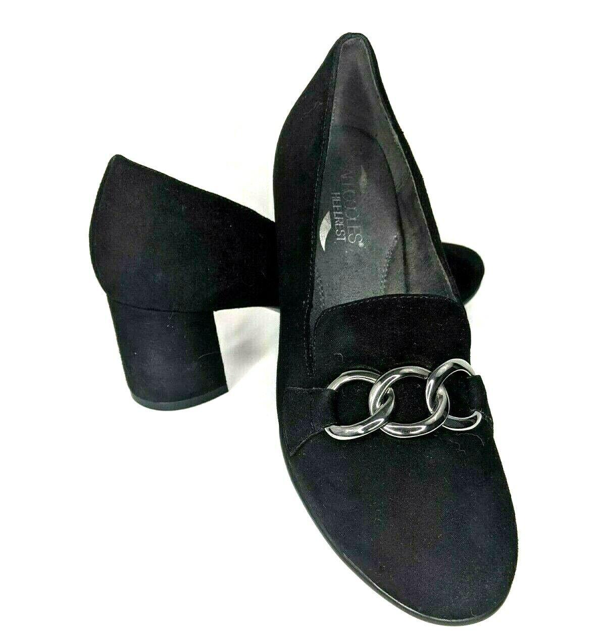 Aerosoles Women's Pump Heel Size 8.5 M Black Stretch Round Toe Leather Suede