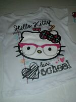 Girls Hello Kitty Short Sleeved Shirt + With Tag Size 3t Glasses Love School