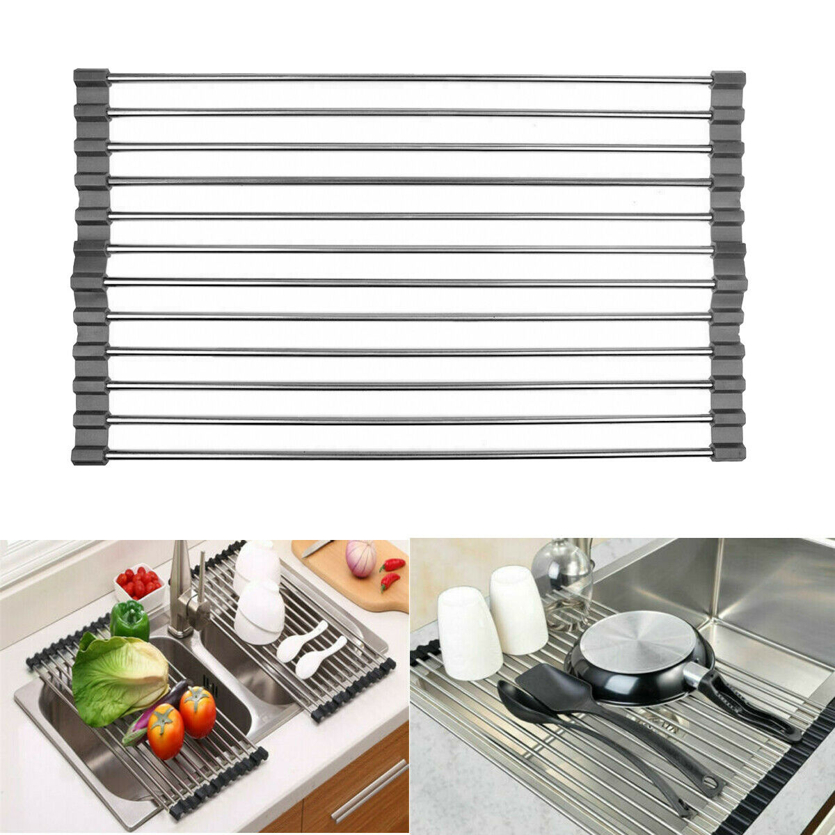 Kitchen Over The Sink Dish Drying Rack Roll Up Stainless Steel Colander Drainer For Sale Online Ebay