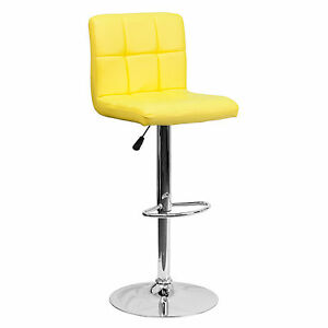 Magnificent Details About Yellow Faux Leather Upholstered Bar Stool Adjustable Height Swivel Seating Chair Gmtry Best Dining Table And Chair Ideas Images Gmtryco