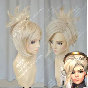Overwatch-OW-Mercy-Angela-Ziegler-Beige-Blond-Cosplay-Ponytail-Hair-Wig-Cap