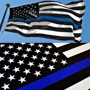 Thin Blue Line American Flag 3x5 ft US Black /& White Police Policemen Support