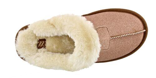 Women/'s Ella Sparkle Glitter Warm Faux Fur Lined Memory Foam Mules Slippers