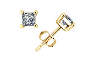 1-2Ct-Princess-Diamond-Solitaire-Stud-Earrings-14k-Yellow-Gold-Prong-Set-J-I1-I2