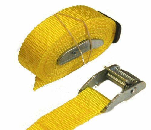 Cam Boucles arrimage sangles 2 X 25 mm 2.5 m Med Remorque à bagages Toit Rack