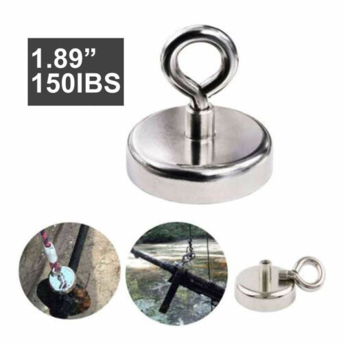 180LB Super Strong Rare Earth Round Neodymium River Fishing Magnet Eyebolt 91LB