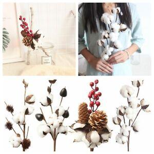 Artificial-Cotton-Branch-Simulation-Flowers-Arrangement-Faux-Plant-Red-Berry