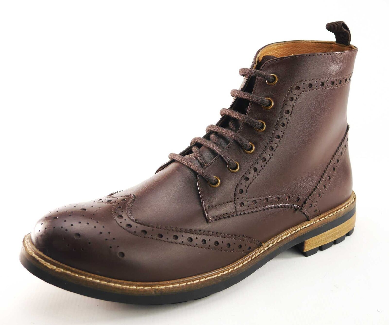 Frank James Hackney Real Leather Lace Up Brogue Boots Brown