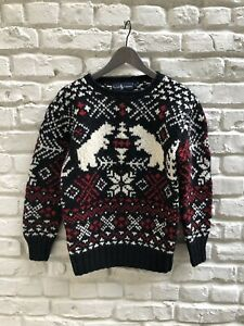 Rare-Vintage-1980s-RALPH-LAUREN-Nordic-Hand-Knit-Wool-Sweater-WOW