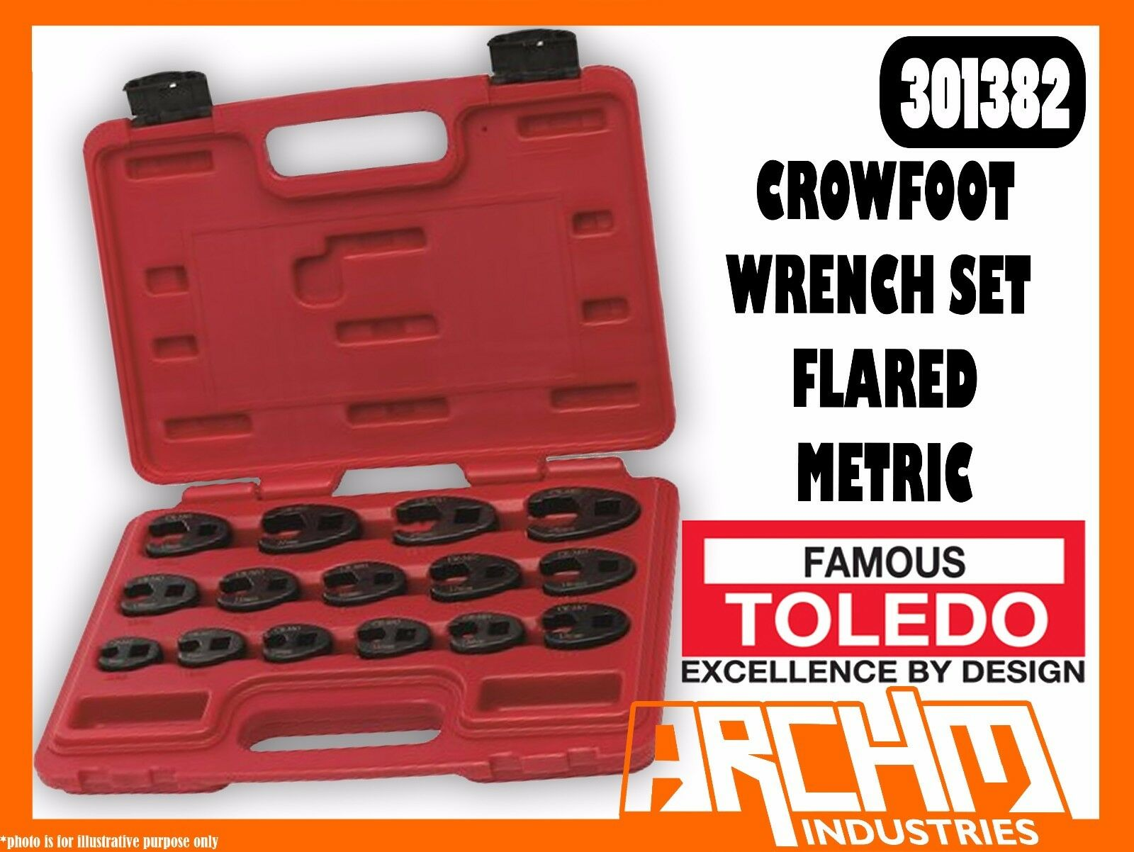 TOLEDO 301382 - CROWFOOT WRENCH SET FLARED 3 8  & 1 2  - METRIC (8 - 24MM) 15 PC
