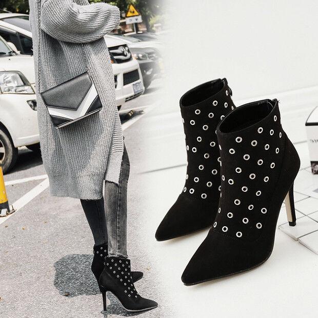 botas bajo tacón de aguja 9.5 negro alto elegantes como piel 9446