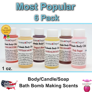 1-oz-MOST-POPULAR-PACK-Fragrance-Body-Oil-Soap-Bath-Candle-Making-lot-of-6-PURE