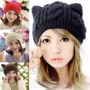 Womens-Devil-Horns-Winter-Warm-Beanie-Knit-Crochet-Ski-Cat-Ear-Hat-Braided-Cap