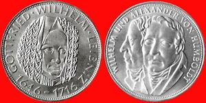 2-x-BRD-5-DM-1966-1967-Leibniz-Humboldt-SILBER