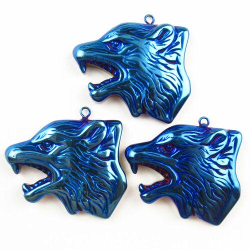 3Pcs Carved Royal Blue Hematite Wolf/'s Head 39x29x5mm Pendant Bead D18080905