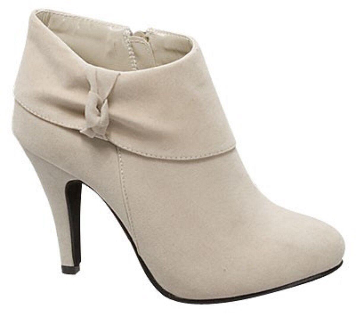 Top Moda Beige Faux Suede Pumps Sexy High Heel Womens Zip Boots Slim-5
