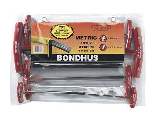 Bondhus 13187 Set of 8 Balldriver and Hex T-handles, sizes 2-10mm