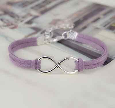 Silver Plated Korea Handmade Infinity Friendship Leather Bracelet Bangle