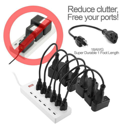 Heavy Duty 3 Prong Monitor Power Cord 10pcs PC//Computer//AC Power Cable Cord