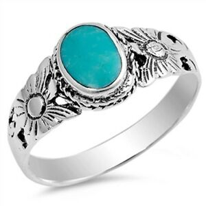 About Oval Turquoise Flower  Sterling Silver Ring Sizes