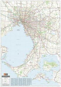 LAMINATED-MELBOURNE-amp-REGION-SUPER-MAP-POSTER-140x100cm-GREATER-AREA-NEW