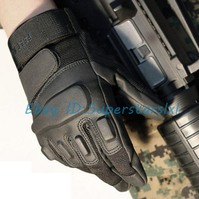 New Mens Professional Military Tactical Gloves Black Working Full Finger Gloves