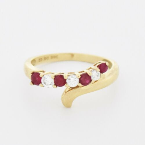 14k Yellow Gold Estate Wrap/Swirl Ruby & CZ Ring S