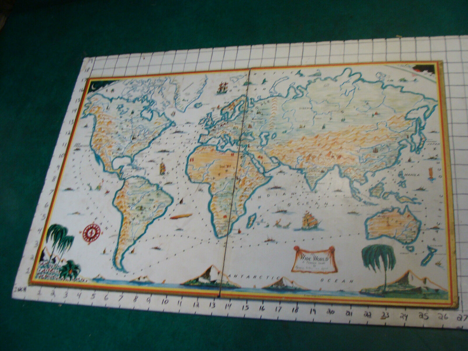 Vintage game board Only: Hendrik Van Loon's WIDE WORLD GAME--1930'S